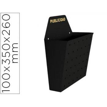 Buzon metalico para publicidad pintado en epoxi 100 ancho 26cm alto 35cm fondo sup 13cm negro