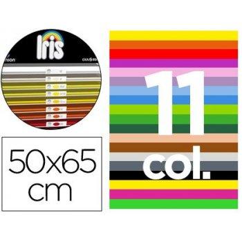 """Cartulina guarro 50x65 contenido """"a"""" 50 hojas blancas+ 25 hojas x11 colores 185grs"""
