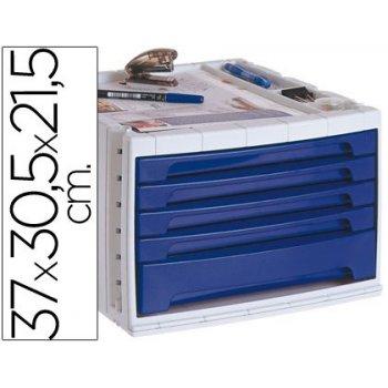 Fichero cajones de sobremesa q-connect 370x305x215 mm bandeja organizadora superior 5 cajones azul opaco