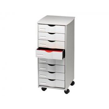 Mueble auxiliar fast-paperflow para oficina 8 cajones en color gris 5x825x382 71,5x31,6x34,3 cm
