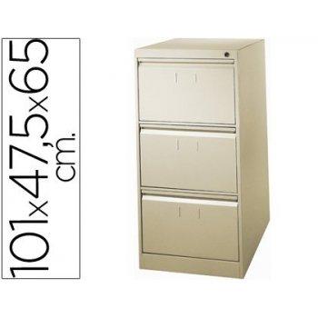 Fichero cajones de suelo metalico de 3 cajones 101 alto,65 prof. 47,5 ancho color beige n.34 antivuelco