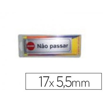 Letrero plastico adhesivo -nao pasar 17x5.5 mm. -blister de 1 unidad