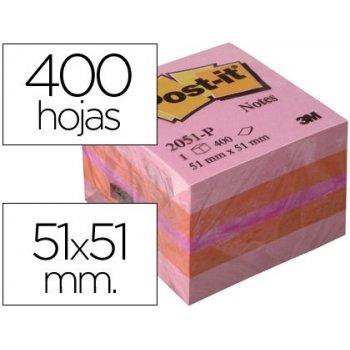 Bloc de notas adhesivas quita y pon post-it 51x51 mm minicubo color rosa 2051-p 400 hojas