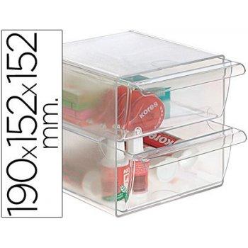 Archicubo archivo 2000 2 cajones organizador modular plastico 190x152x152 mm incluye 2 clips de sujecion