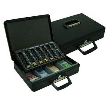 """Caja caudales q-connect 14,5"""" 370x290x110 mm con portamonedas y bandeja para billetes"""