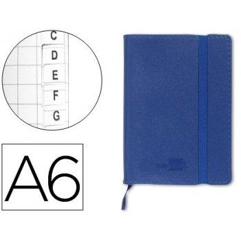 Libreta liderpapel simil piel a6 120 hojas 70g m2 indice azul