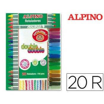 Rotulador alpino double double punta gruesa y punta fina caja de 20 colores