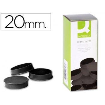 Imanes para sujecion q-connect ideal para pizarras magneticas20 mm negro -caja de 10 imanes