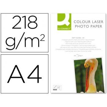 Papel q-connect foto glossy din a4 para fotocopiadoras e impresoras laser -paquete de 100 hojas 218 gr