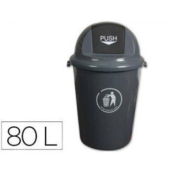 Papelera contenedor q-connect plastico con tapadera 80l color gris 450x760 mm