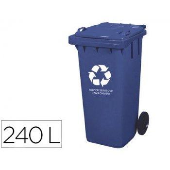 Papelera contenedor q-connect plastico con tapadera 240l color azul 1040x620x610 mm con ruedas