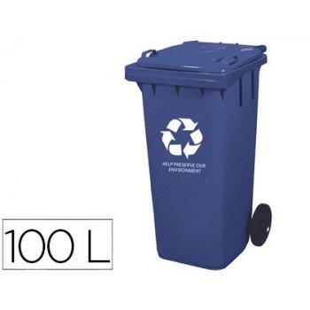 Papelera contenedor q-connect plastico con tapadera 100l color azul 800x510x525 mm con ruedas