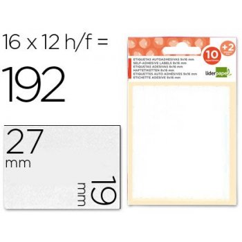 Etiquetas liderpapel sobre de 10 h. + 2 h. obsequio 19x27 mm -16 unidades por hoja