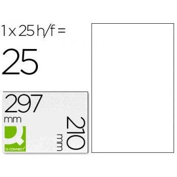 Etiqueta adhesiva q-connect kf00232 -tamaño din a4 -para laser -mate traslucido -caja con 25 hojas din-a4