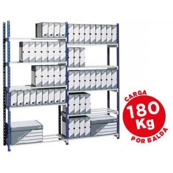 Estanteria fast-paperflow metalica azul 5 estantes gris 180kg por estante 900kg por modulo 200x100x35cm base