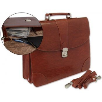 Cartera portadocumentos q-connect kf02610 con correa y dptos interiores marron