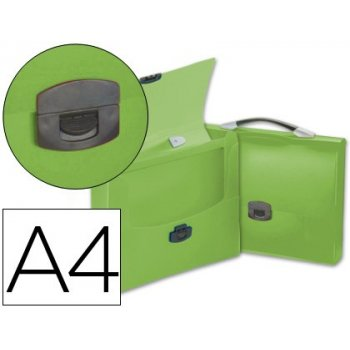 Carpeta beautone portadocumentos broche 34623 polipropileno din a4 verde transparente con asa