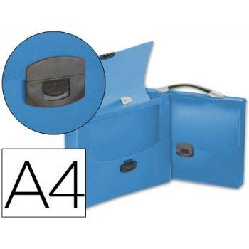 Carpeta beautone portadocumentos broche 34622 polipropileno din a4 azul transparente con asa