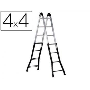 Escalera telescopica de acero y aluminio de 4+4+4+4 peldañoscon tratamiento de superficie epoxi