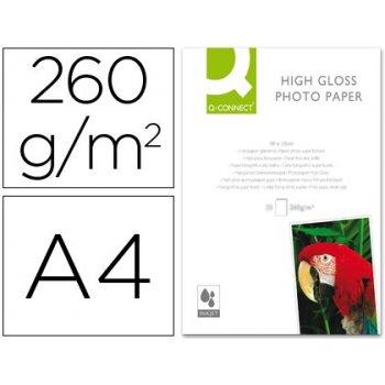 Papel q-connect foto glossy kf02163 din a4 alta calidad digital photo -para ink-jet bolsa de 20 hojas de 260 gr