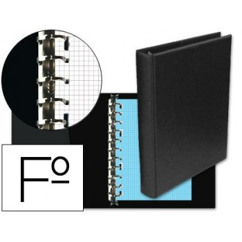 Carpeta multifin alfa 3005-g 16 anillas 40 mm plastico folio negro