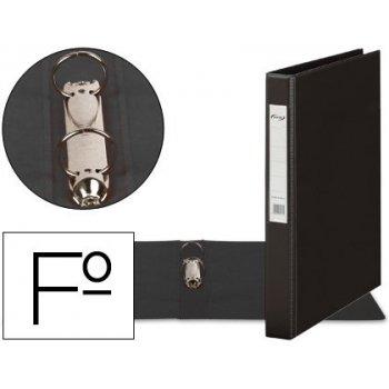 Carpeta 2 anillas 25 mm plastico pardo folio negro