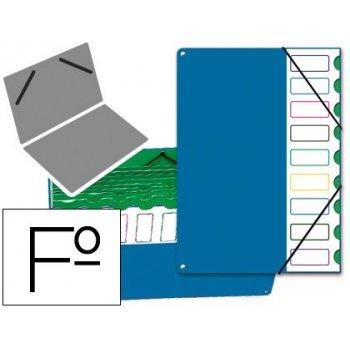 Carpeta clasificador tapa de plastico pardo folio -9 departamentos azul