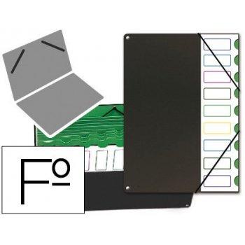 Carpeta clasificador tapa de plastico pardo folio -9 departamentos negro
