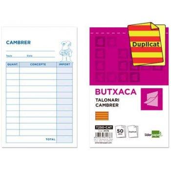 Talonario liderpapel camarero bolsillo original y copia t250 texto en catalan