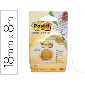 Cinta adhesiva post-it 8x18 mm 2 lineas en portarrollo especial para ocultar y etiquetar