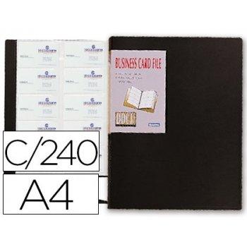 Carpeta beautone clasificador de tarjetas polipropileno din a4 para 240 tarjetas negra