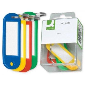 Llavero portaetiquetas q-connect -caja de 6 unidades -colores surtidos