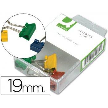 Pinza metalica q-connect -reversible 19 mm -caja de 6 unidades colores surtidos
