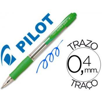 Boligrafo pilot super grip verde claro -retractil -sujecion de caucho -tinta base de aceite
