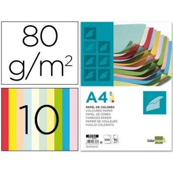 Papel color liderpapel a4 80g m2 10 colores surtidos paquete de 100