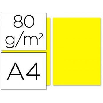 Papel color liderpapel a4 80g m2 amarillo paquete de 100