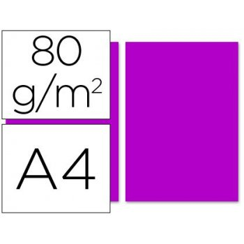 Papel color liderpapel a4 80g m2 fucsia paquete de 100