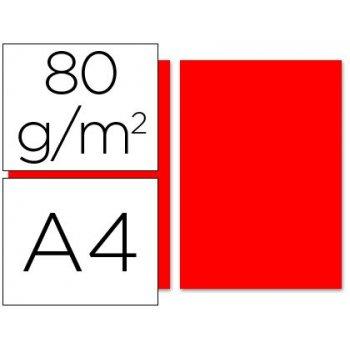 Papel color liderpapel a4 80g m2 rojo paquete de 100