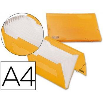 Carpeta liderpapel clasificador fuelle 32181 polipropileno din a4 naranja serie frosty 13 departamentos