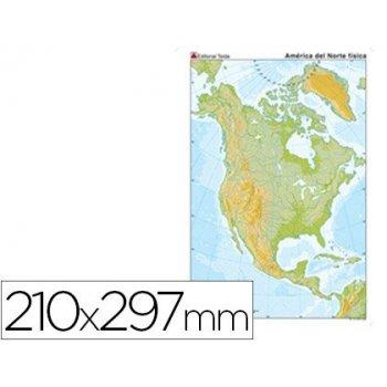 Mapa mudo color din a4 america norte fisico