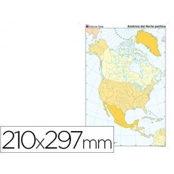 Mapa mudo color din a4 america norte politico