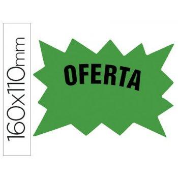 Cartel cartulina etiquetas marcaprecios verde fluorescente 160x110 mm -bolsa de 50 etiquetas