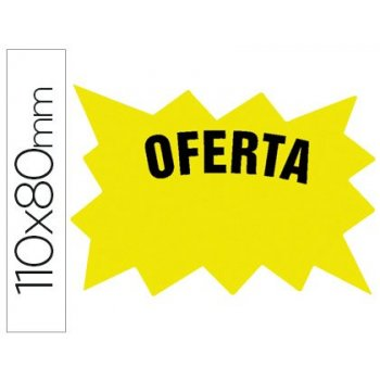 Cartel cartulina etiqueta marcaprecios amarillo fluorescente 110x80 mm -bolsa de 50 etiquetas