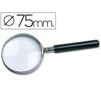 Lupa cristal aro metalico mango negro w-104 75 mm