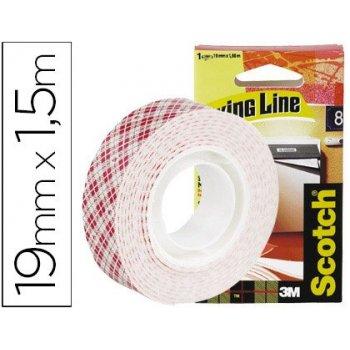 Soporte adhesivo cintas scotch doble cara -superresistente -rollo 19 mm x 1.5 mt