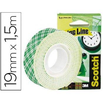 Soporte adhesivo cintas scotch doble cara -rollo blanco 19 mm x 1.5 mt