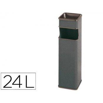 Cenicero papelera cuadrado 403 gris -metalico -medida 65x18x18 cm