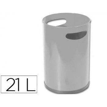 Papelera metalica con asas 101 gris -32x21 cm