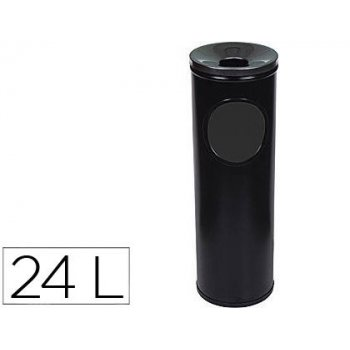 Cenicero papelera redondo 401 negro -metalico -medida 66x21.5 cm