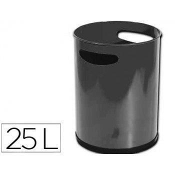Papelera metalica con asas 111 negra 30x25 cm